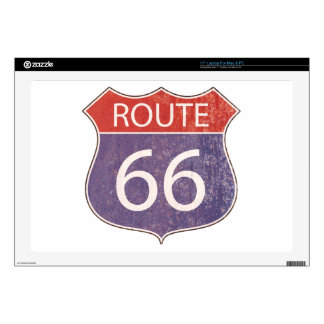 Route 66 Road Sign - red & blue rusty Skins For Laptops