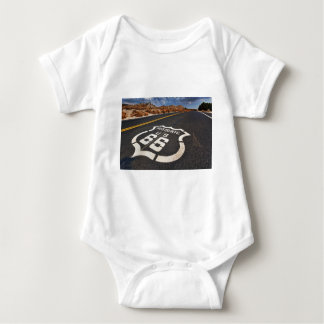 route 66 road sign USA travel hot rod Baby Bodysuit