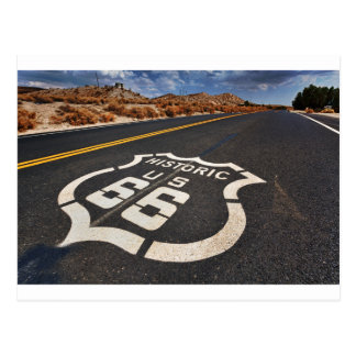 route 66 road sign USA travel hot rod Postcard