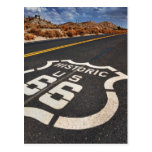 route 66 road sign USA travel hot rod Postcards