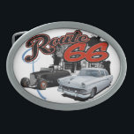 """Route 66 Scene Belt Buckle<br><div class=""""desc"""">This is a rendering of a classic car created using chalks and markers with a background digitally added.</div>"""