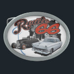 "Route 66 Scene Belt Buckle<br><div class=""desc"">This is a rendering of a classic car created using chalks and markers with a background digitally added.</div>"