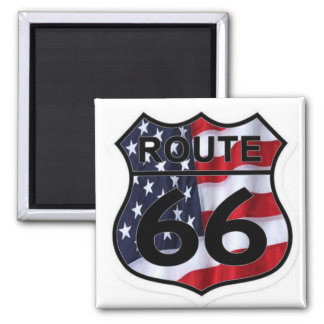 Route 66 Shield American Flag Magnet