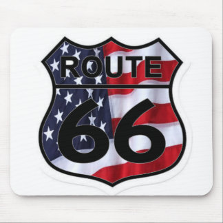 Route 66 Shield American Flag Mouse Pad
