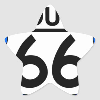 Route 66 Shield with Blue & Shadow Star Sticker