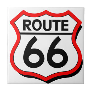 Route 66 Shield with red Shadow Tile