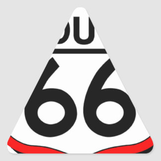 Route 66 Shield with red & Shadow Triangle Sticker