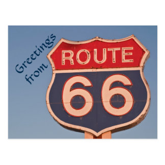 Route 66 Sign at Sunset Postcard