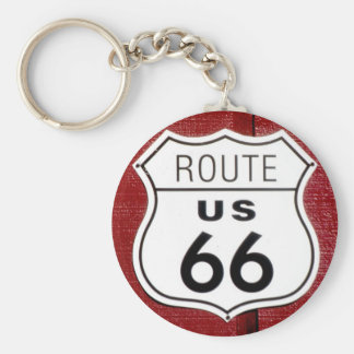 Route 66 Sign Basic Round Button Keychain