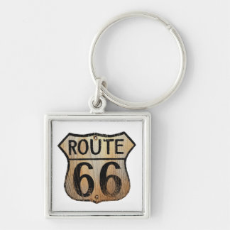 Route 66 Sign - Multiple Products Silver-Colored Square Keychain
