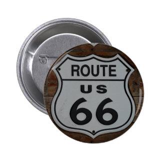 Route 66 sign rustic retro pinback button