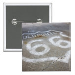 Route 66 Spray Painted on Road, Alanreed, Texas, 2 Inch Square Button