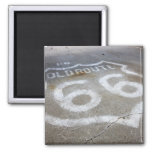 Route 66 Spray Painted on Road, Alanreed, Texas, 2 Inch Square Magnet