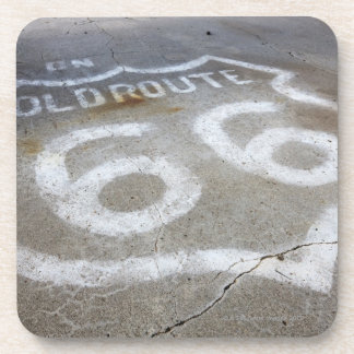 Route 66 Spray Painted on Road, Alanreed, Texas, Beverage Coaster