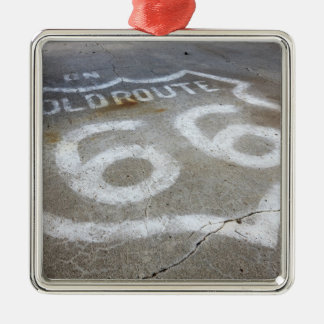 Route 66 Spray Painted on Road, Alanreed, Texas, Metal Ornament