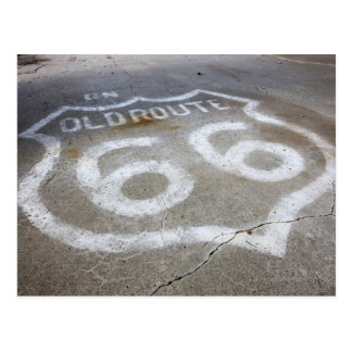 Route 66 Spray Painted on Road, Alanreed, Texas, Postcard