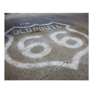 Route 66 Spray Painted on Road, Alanreed, Texas, Poster