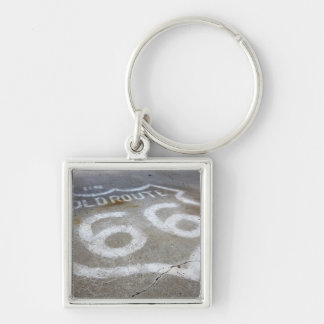 Route 66 Spray Painted on Road, Alanreed, Texas, Silver-Colored Square Keychain