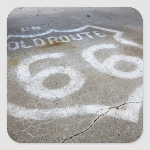 Route 66 Spray Painted on Road, Alanreed, Texas, Square Sticker