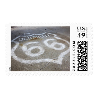 Route 66 Spray Painted on Road, Alanreed, Texas, Stamp