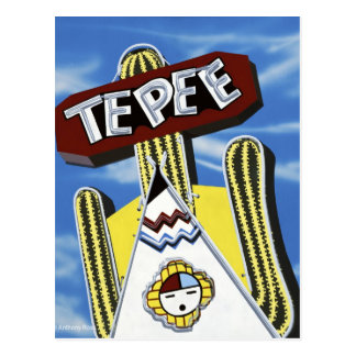 Route 66 Tepee Curiol Retro Neon Sign Postcards