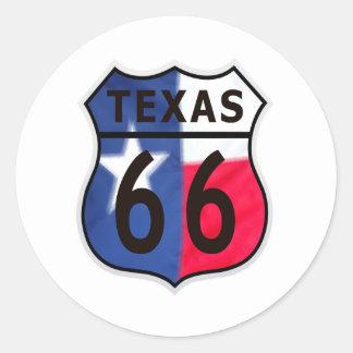 Route 66 Texas Color Classic Round Sticker