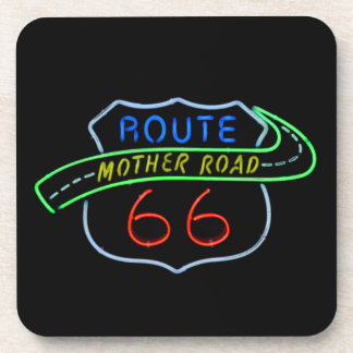 Route 66, The Mother Road, Neon Sign Drink Coaster