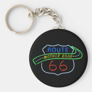 Route 66, The Mother Road, Neon Sign Keychain