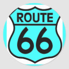 route 66 turquoise classic round sticker