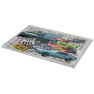 Route 66 Vintage Cars GLASS CUTTING BOARD
