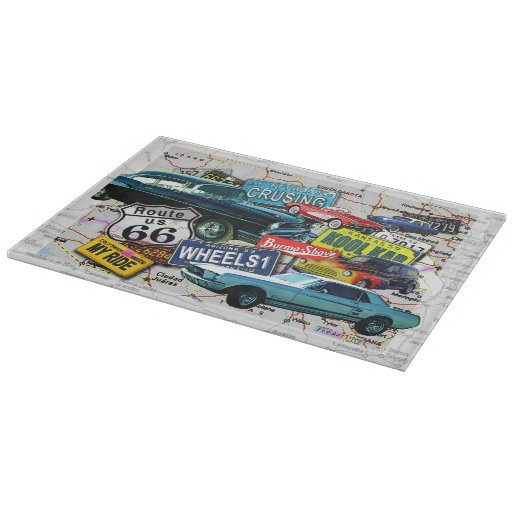Route 66 vintage cars glass cutting board zazzle - Decorative tempered glass cutting boards ...