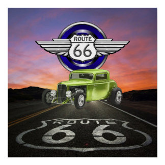 Route 66 - Vintage - Classic Car - SRF Poster