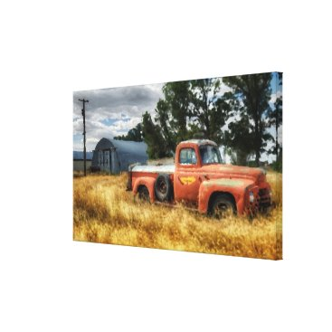 USA Themed Route 66 Vintage Pick Up Truck Watercolor Canvas Print