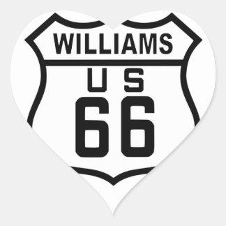 Route 66 Williams, Arizona Heart Sticker