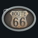 """Route 66 Wood BG - Belt Buckle<br><div class=""""desc"""">This was the way to the west,  out to California! This is a great present for anyone who travels by car and especially if they used to take Route 66 out west!</div>"""