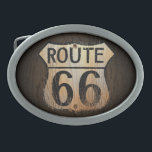 "Route 66 Wood BG - Belt Buckle<br><div class=""desc"">This was the way to the west,  out to California! This is a great present for anyone who travels by car and especially if they used to take Route 66 out west!</div>"
