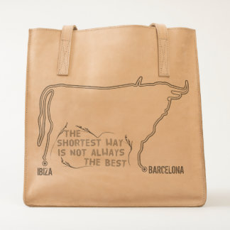 Route Ibiza to Barcelona taurus bull outline Tote