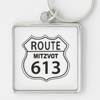 Route Mitzvot 613 Silver-Colored Square Keychain