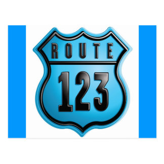 route_sign 123 seal label graphic logo icon blues postcard