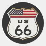 Route US 66 Classic Round Sticker