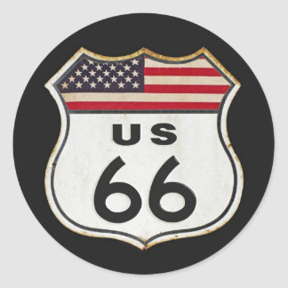 Route US 66 Classic Round Sticker