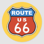Route US 66 Sign Classic Round Sticker