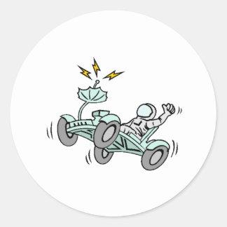 Rover lunar pegatina redonda