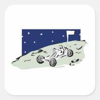 Rover lunar colcomanias cuadradas personalizadas