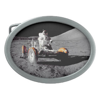 Roving On The Moon - Watch For Pedestrians! Oval Belt Buckle