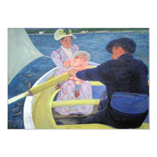 """Row Boat Baby Painting announcements 5"""" X 7"""" Invitation Card"""