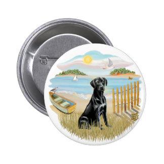 Row Boat - Black Labrador Pinback Button