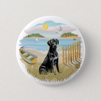 Row Boat - Black Labrador Pinback Button