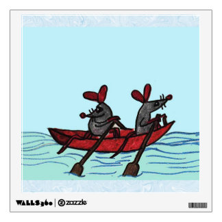 Row Boat Mice Wall Sticker