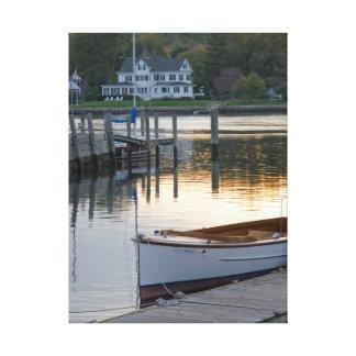 Row Boat Ocean sunset Canvas Print